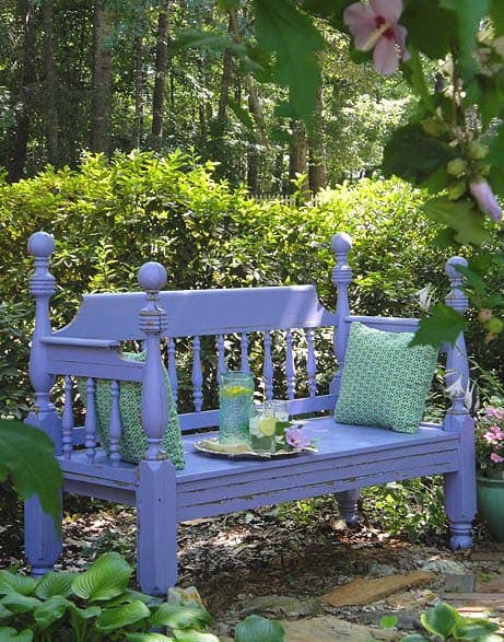 upcycled-bedframe-for-garden-bench