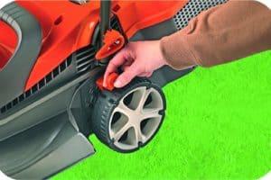Flymo Chevron 37VC Electric Wheeled Rotary Lawn Mower wheels