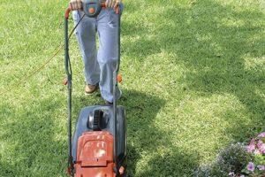 Flymo Easimo Electric Wheeled Rotary Lawn Mower woman in garden