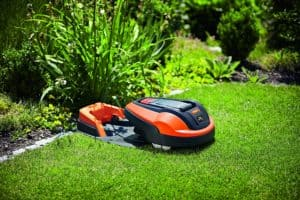 Flymo Lithium-ion Robotic Lawn Mower 1200 R with charging dock
