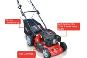 Frisky Fox PLUS 20 5.5hp Self Propelled Petrol Lawn Mower with features