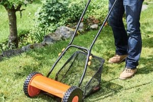 VonHaus Manual Cylinder Lawn Mower in garden