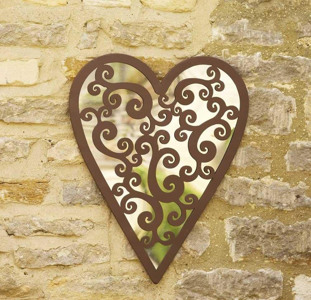 acrylic heart garden mirror