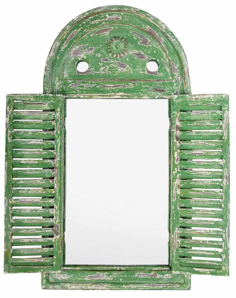distressed wooden garden mirror