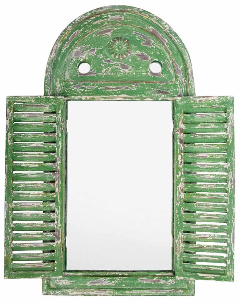 distressed wooden garden mirror