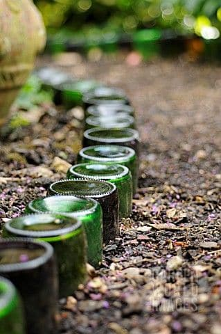 glass wine bottle garden edging ideas