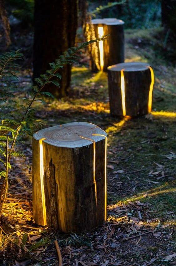 glow in the dark logs edging