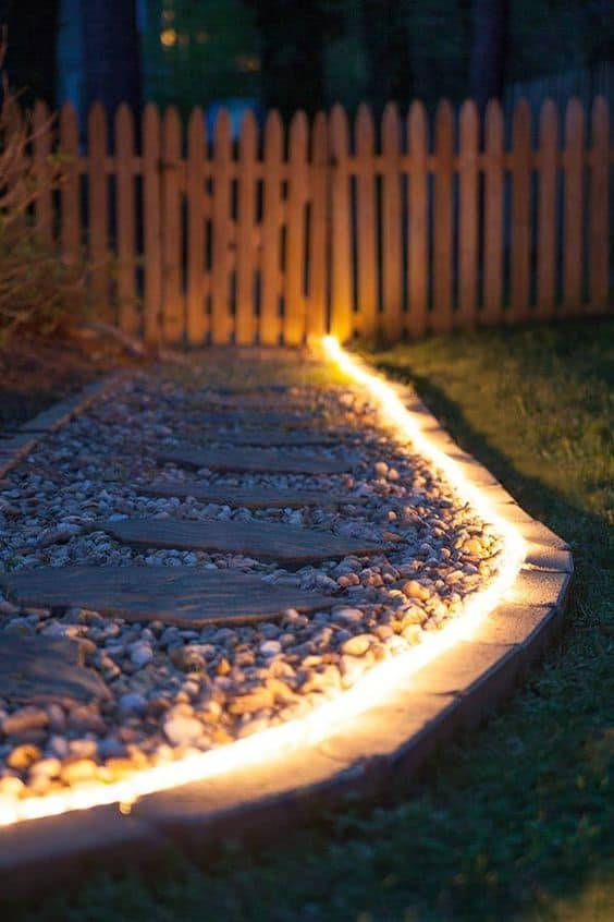 rope lighting garden edging ideas