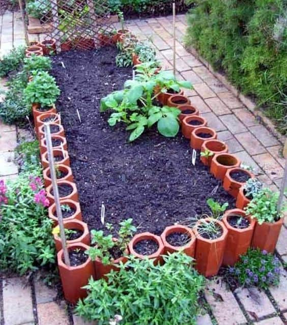 tile raised bed edging