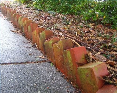 titled brick edging