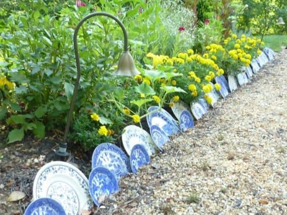 upcycled plate edging