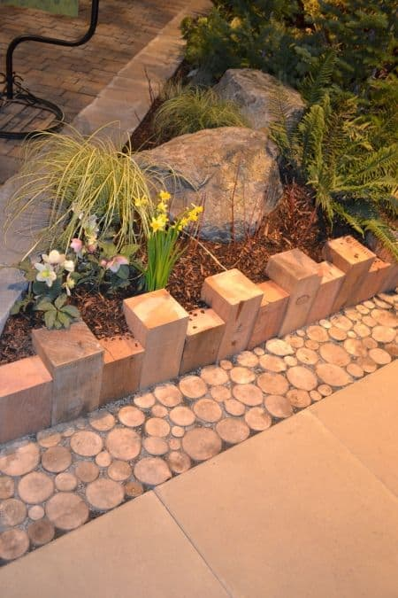 wooden garden edging ideas with logs