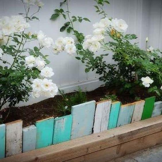 wooden panel garden edging ideas