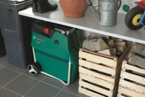 Bosch AXT 25 TC Quiet Garden Shredder stored away