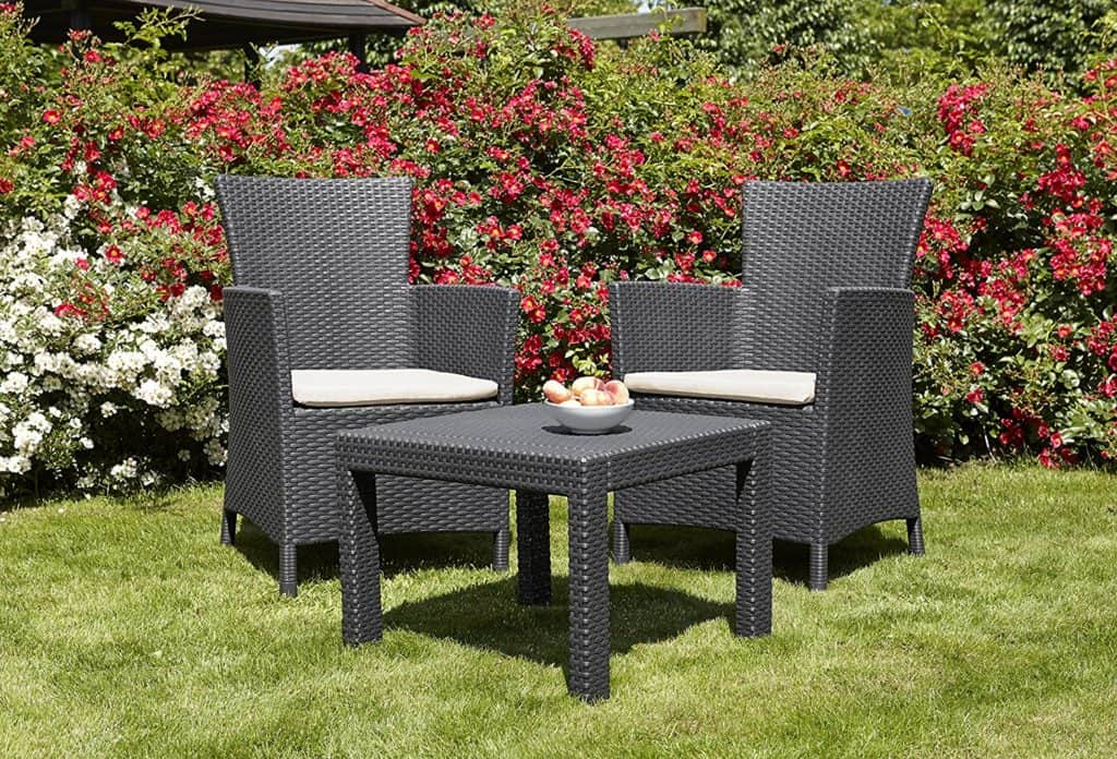 Allibert by Keter Rosario Outdoor 2 Seat Rattan Balcony Garden Furniture Set