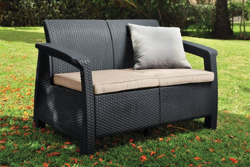 Keter Corfu 2 Seater Rattan Sofa Outdoor Garden Furniture