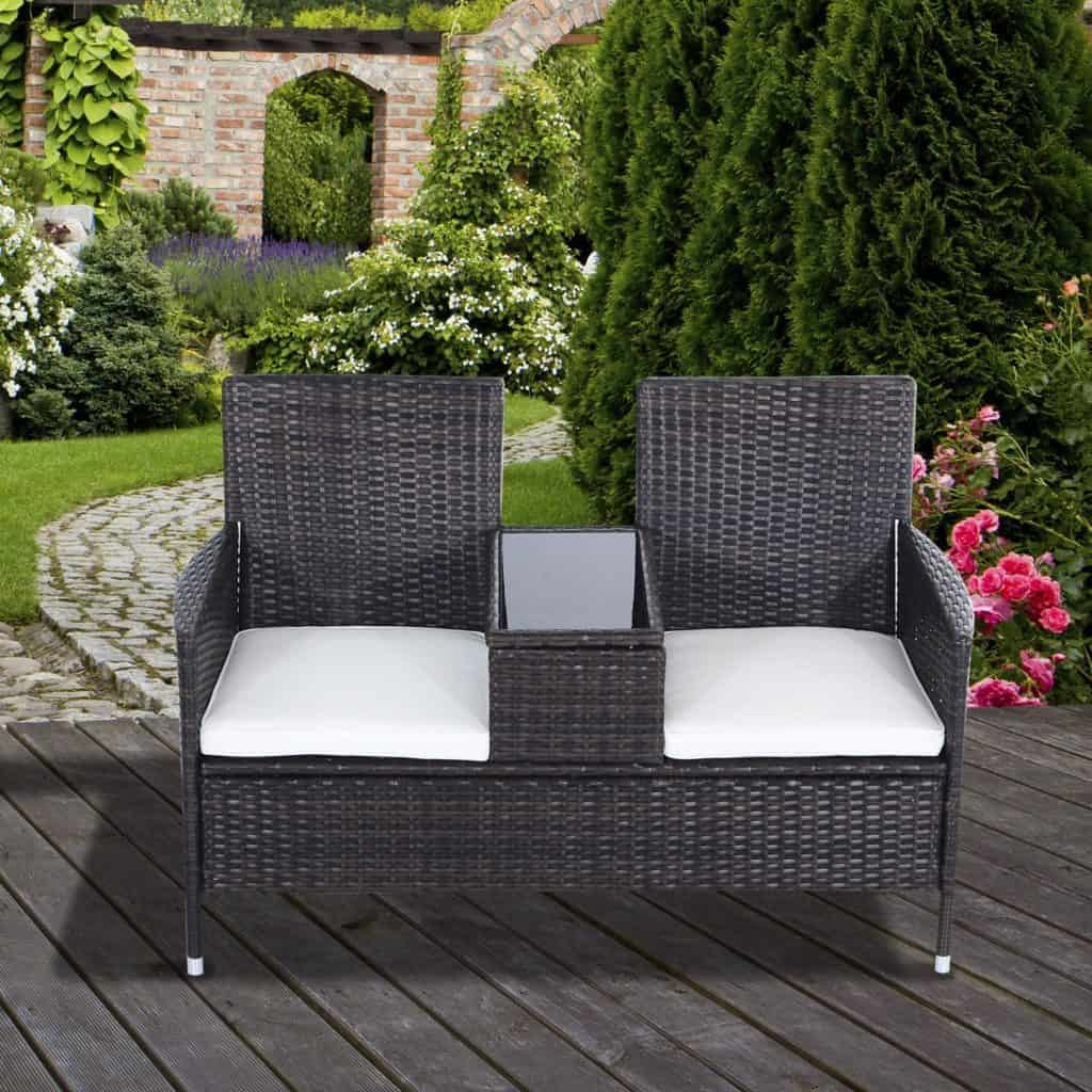 Outsunny Garden Rattan 2 Seater Companion Seat Wicker Love Seat