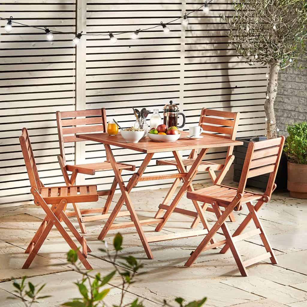 VonHaus Wooden Table and 4 Chair Set