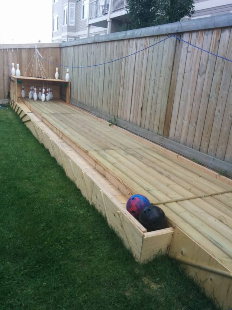 diy back garden bowling alley