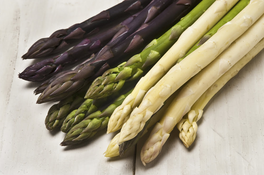 White, green, and purple asparagus