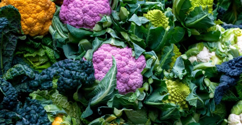 Colourful cauliflower heads