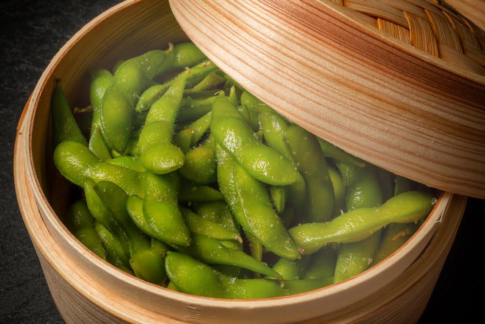 Steamed edamame beans